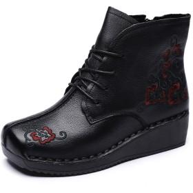 [Maysky] ショートブーツ スクエアトゥ ウェッジ 刺繍 お花 ジッパー レースアップ ステッチダウン おじ靴 レザー レディース (245, ブラック)