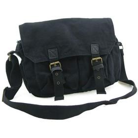メンズバッグ 男性のファッションの旅行のためのカジュアルファッションのキャンバスサイドメッセンジャーバッグスクールブックバッグ レザーバッグ (Color : Black, Size : S)