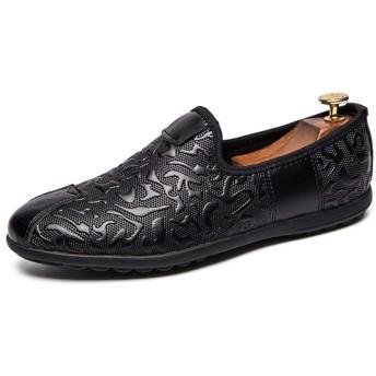 [Jusheng-shoes] メンズシューズ メンズカジュアルペニーシューズスリップオン本革滑り止め耐摩耗性エンボス衝突回避つま先 カジュアルシューズ (Color : Black-3, サイズ : 24 CM)