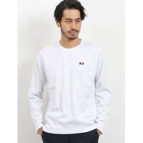 (TAKA-Q/タカキュー)ピケシングルシルケットクルーネック長袖Tシャツ/メンズ ホワイト