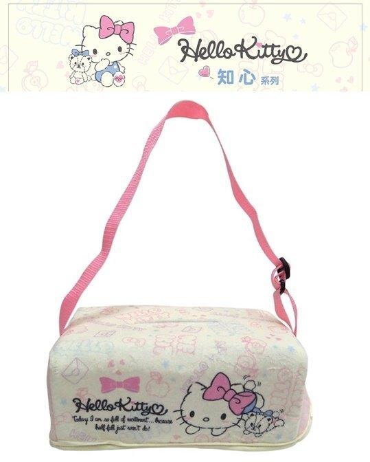 權世界@汽車用品 Hello Kitty 知心系列 面紙盒套袋(可吊掛車內頭枕) 附贈面紙盒 PKTD009P-03