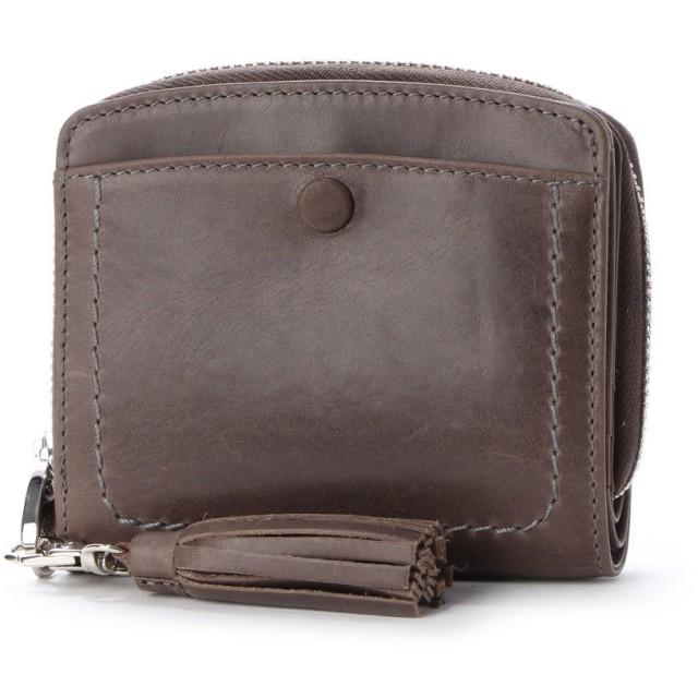 ペルケ perche インド牛革くるみホックラウンド二つ折り財布 (グレー)