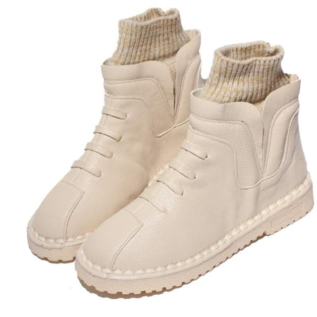 [MarieAnge] レディース ステッチシューズ ハイカット シンプル フラット ショート丈 ブーツ AS-1143 (24.5cm, ホワイト)