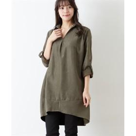 シャツコール素材 コクーンシルエットスキッパーシャツチュニック (ブラウス)Blouses, Shirts, 衫, 襯衫