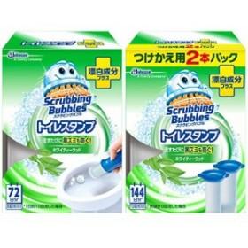 スクラビングバブル トイレ洗剤 トイレスタンプクリーナー漂白プラス ホワイティーウッドの香り 38g×3本