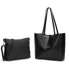 【T&O style】トートバッグ バッグインバッグ ショルダーバッグ ビジネス オフィス カジュアル (ブラック)