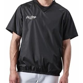 【セール】 ローリングス 野球 ジュニアウインドシャツ Vネック 半袖ウインドシャツ AOS8S08J ジュニア ブラック