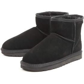 [Se Realiser] Mon Prefre あったか ムートン風 ショートブーツ レディース ウィンターブーツ ブラック 38サイズ(約22cm~約23cm)