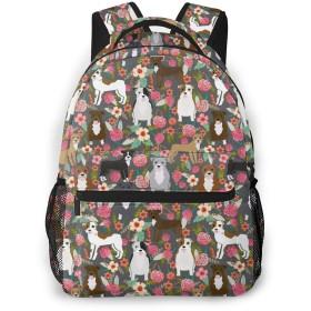 バックパック リュックサック 花の中の犬たち ビジネス カジュアル リュック 軽量 超大容量 多機能 衝撃吸収 おしゃれ 通勤 通学 旅行 登山 出張 メンズ レディース