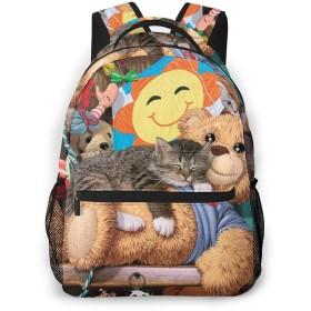 バックパック リュックサック 可愛い子猫玩具 熊 ビジネス カジュアル リュック 軽量 超大容量 多機能 衝撃吸収 おしゃれ 通勤 通学 旅行 登山 出張 メンズ レディース