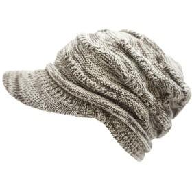 ドリームウォーク 帽子 ニット帽 コットンニットキャップ (Type2つばあり Lサイズ Cream×Brown)