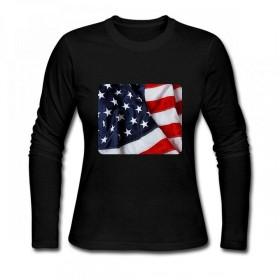 アメリカの国旗を振ってHD Women Long Sleeve T-Shirt レディーズ Tシャツ