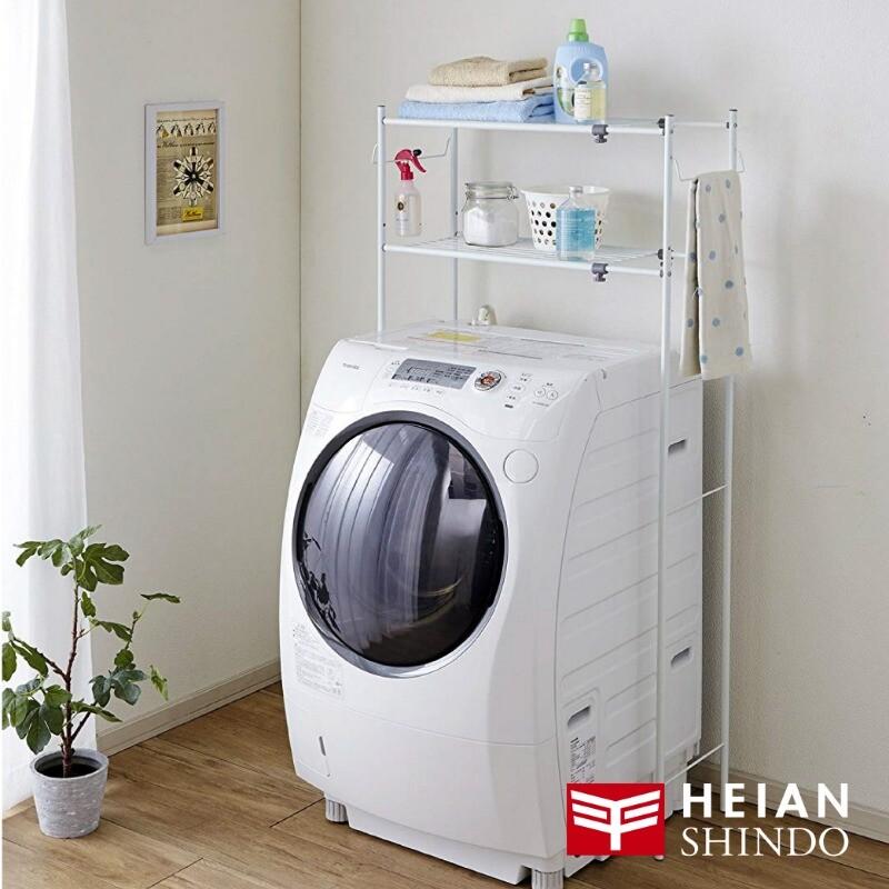 日本平安伸銅多功能伸縮二層洗衣機/衛浴置物架附毛巾架 tlr-1