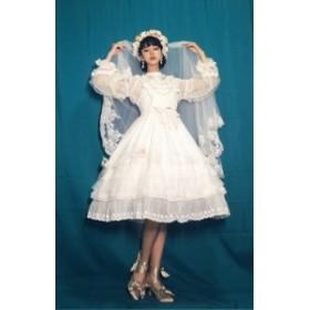 ロリータ DorisNightLolita 花嫁ジャンスカ+コサージュベール セット販売 ブラウス含まず 袖なし ワンピースドレス