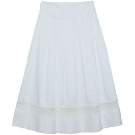 《セール開催中》MARIA GRAZIA SEVERI レディース 7分丈スカート ホワイト 46 コットン 97% / ポリウレタン 3%