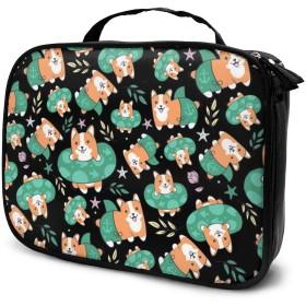 コスメバッグ バニティケース 化粧品袋 コスメボックス メイクボックス 化袋 バスルームバッグ ビジネスバッグ コーギー柄 大容量 軽量 ポータブル 化粧道具 保管 ファッション 多機能