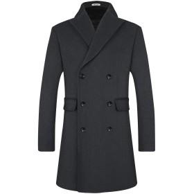 BOJIN コート メンズ 冬 ロング 無地 ビジネス 防寒 防風 大きいサイズ 1965黒 S