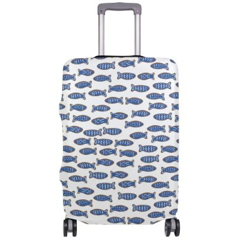 SoreSore(ソレソレ)スーツケースカバー 防水 伸縮素材 キャリーカバー ラゲッジカバー 魚 魚柄 ブルー かわいい 可愛い 和風 可愛い おしゃれ 防塵 旅行 出張 便利 S M L XLサイズ