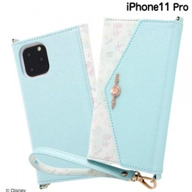 ☆ ディズニー iPhone11 Pro(5.8インチ)専用 手帳型レザーケース Collet チャーム+ストラップ付キ/アリエル RS-DP23MLC4/AR