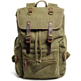 メンズバッグ ハードワックスキャンバスバックパックキャンバススポーツ旅行バッグファッショントレンドビジネストラベルレジャー レザーバッグ (Color : Gray, Size : 281543)