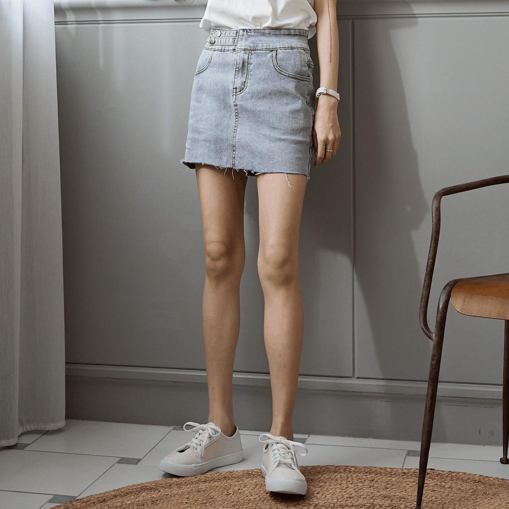 雙釦牛仔褲裙 S-L 現貨深淺兩色 Free Party牛仔單寧