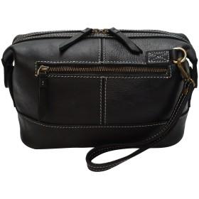 メンズバッグ メンズバッグ 小型 クラッチバッグ レザー ファッションバッグ ジッパー 多機能 レザーバッグ (Color : Black, Size : S)