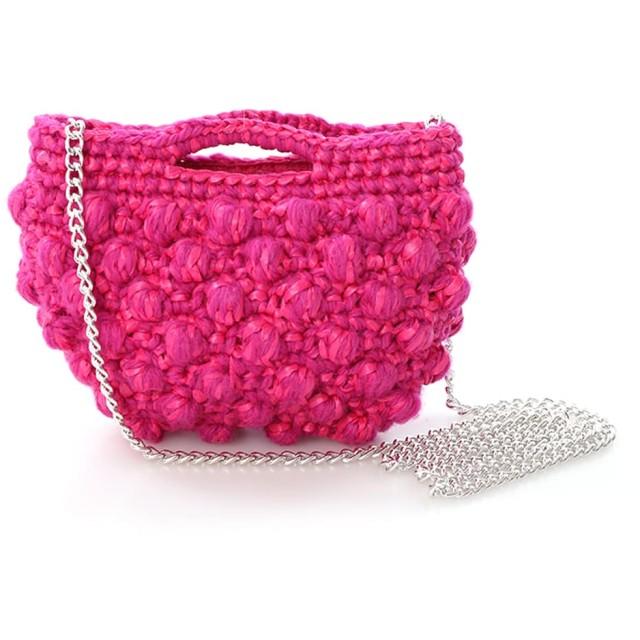 ef-de 《Maglie par ef-de》チェーンショルダーニットバッグ ショルダーバッグ,ピンク1