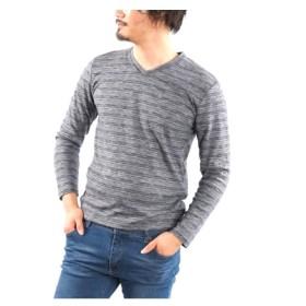 表起毛スムース杢 長袖VネックTシャツ Tシャツ・カットソー, T-shirts, T恤