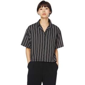 ウィゴー(レディース)(WEGO) オープンカラークロップドシャツ【ブラック系ストライプ/F】