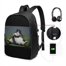 Xzdcvqwedadc 猫、ゲームパッド、楽しい、クールなゲーマー ヘッドフォンポート用17インチラップトップ付きUSB充電ポート付きコンピューターバックパック、旅行用デイリーバックパック、仕事用コンピューターバッグ、男女兼用