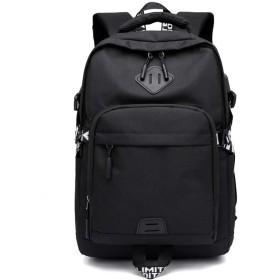 PURETINN リュック メンズ 大容量 15.6インチ USB充電する ラップトップバックパック、耐水性のブックバッグ カップルタイプ 通学 旅行 (ブラック)