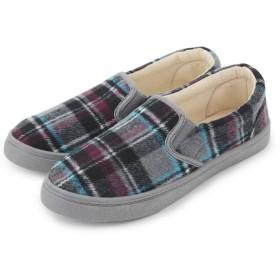 レディース ボア スニーカー 靴 シューズ 無地 チェック スリッポン M 23.5~24.0cm チェックグレー 67049