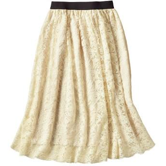 49%OFF【レディース】 レーススカート(洗濯機OK) - セシール ■カラー:アイボリー ■サイズ:M,L,3L