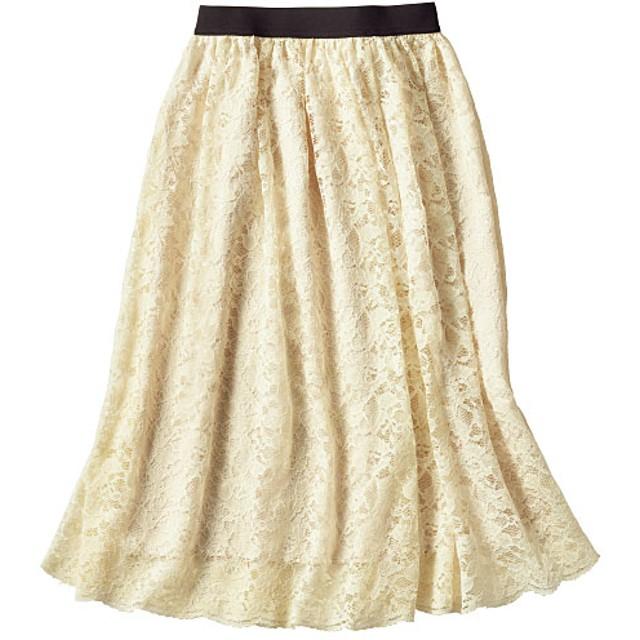 49%OFF【レディース】 レーススカート(洗濯機OK) - セシール ■カラー:アイボリー ■サイズ:M,L