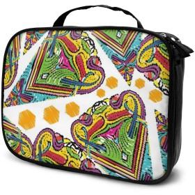 コスメバッグ バニティケース 化粧品袋 コスメボックス メイクボックス 化袋 バスルームバッグ ビジネスバッグ 抽象的 幾何図 ハート 大容量 軽量 ポータブル 化粧道具 保管 ファッション 多機能