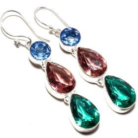 Beautiful Green Tourmaline & Pink Amethyst,Tanzanite Quartz Gemstone Earring Handmade 925 Sterling Silver Plated Jewelry -Dangle And Drop Earring -(SF-2489)