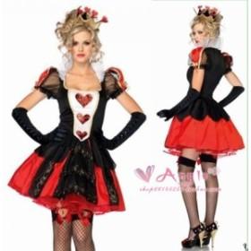 即納 不思議の国のアリス Alice in Wonderland ハートの女王 風  ハロウィン  クリスマス   イベント仮装 ★ コスプレ衣装   K2075