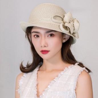 ストローハット レディース 帽子 ハット 折りたたみ 紫外線対策 UV対策 フラワーモチーフ 麦わら帽子 夏