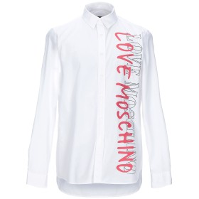 《期間限定セール開催中!》LOVE MOSCHINO メンズ シャツ ホワイト XS コットン 100%