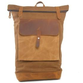 メンズバッグ 大型の分周器バックパック防水レザーラップキャンバスバックパックバッグカジュアルファッションのバックパック レザーバッグ (Color : Brown, Size : 40cm10cm47cm)