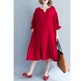 春ワンピース ゆったりワンピース 長袖 赤 ワンピース ロング 大人可愛い レディース マーメイド