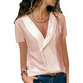 Keaac Women's Casual V Neck Solid Blouses Short Sleeve T Shirt Tops Pink XXXL