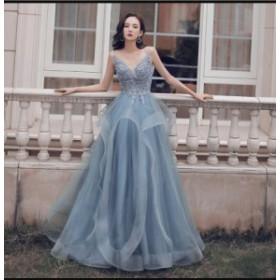 セクシー ロングドレス プリンセスドレス 結婚式 二次会 演奏会 発表会 披露宴 ウエディングドレス パーディードレス 撮影用 マキシワン