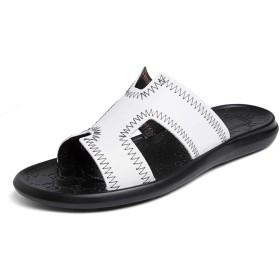 [GERUIQI] 男性のための夏のファッション快適なスリッパスリップオンスタイル本革アンチスリップカジュアルアウトドアビーチウォーターシューズ (Color : 白, サイズ : 24 CM)