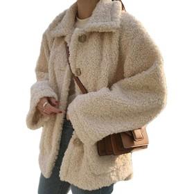 Gergeousフリースジャケット レディース 厚手 ショートコート ゆったり ふわふわ あったか アウター 韓国ファッション ボアコート 冬 防寒アウター(Gアプリコット)