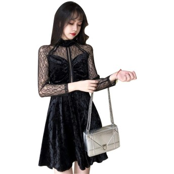 [Beepoo] ワンピース レディース 無地 ベルベット 花嫁 レース 暗黒系 ファッション 着痩せ 透け 遊び 発表会 ブラック S
