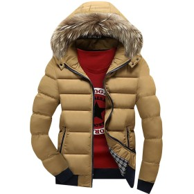 (ネルロッソ) NERLosso ダウンジャケット メンズ フード付き ファー 防寒 軽量 ショート丈 アウトドア バイク ゴルフ 登山 ジャンパー ブルゾン 大きいサイズ 正規品 2XL ベージュ1 cml24115-2XL-be1