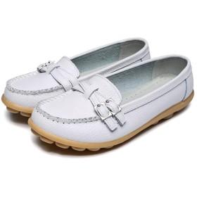 [シュウアン] ドライビングシューズ ローファー スリッポン 25.0cm ベルト ドライビングシューズ 靴 シューズ ホワイト 女性用 レディース モカシン 車用靴 バツグンの履き心地 アンティークステッチ フラットモカシンシューズ やわらかい