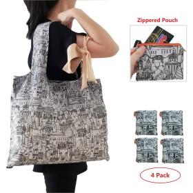 スタイリッシュな大型折りたたみ式再利用可能な食料品ショッピングバッグ。 XX-Large ブラック