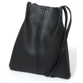 (REAL STYLE/リアルスタイル)巾着ポーチ付き巾着型フェイクレザーミニバッグ/レディース ブラック